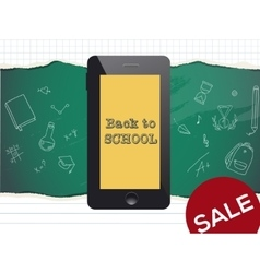 Back to school sale design Mobile phone and vector image vector image