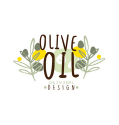 olive oil label with some olive branches vector image vector image