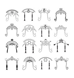 set vintage graphic chuppah jewish wedding canopy vector image
