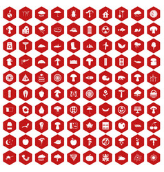 100 mushrooms icons hexagon red vector