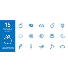 15 vegetarian icons vector