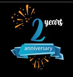 2 anniversary pictogram icon years birthday logo vector image