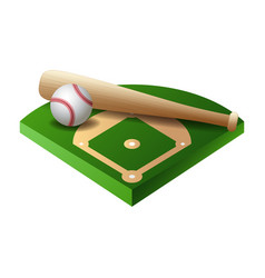 3d baseball base field part with bat and ball vector