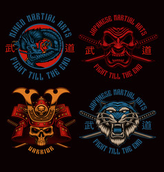 a set colorful samurai-themed badges vector image