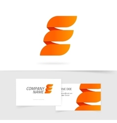 Abstract elegant orange letter E logo isolated on vector image