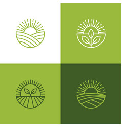 agriculture and farming linear logo set vector image