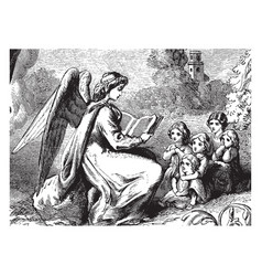 Angel reading to children rock vintage engraving vector