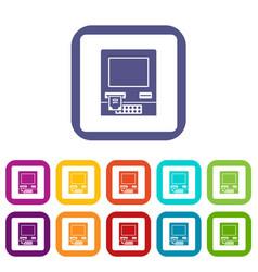 Atm bank cash machine icons set flat vector