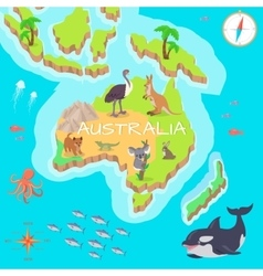 Australia isometric map with flora and fauna vector