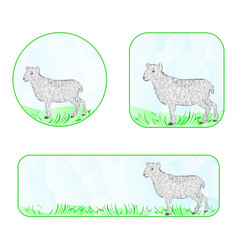 Banner easter lamb polygons vector