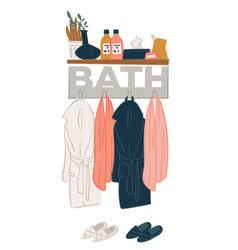 bathroom interior design rack with bathrobes vector image