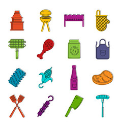 Bbq food icons doodle set vector