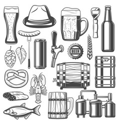 beer brewing and snacks icons vector image