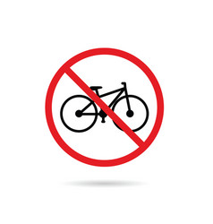 Bicycle sign in red color vector