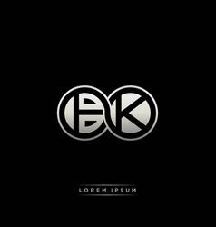 Bk initial letter linked circle capital monogram vector