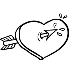black and white heart with an arrow vector image
