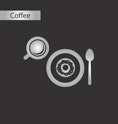 Black and white style icon coffee cup donut vector