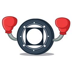 Boxing byteball bytes coin character cartoon vector