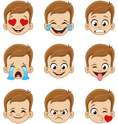 Boy face emoji expressions vector