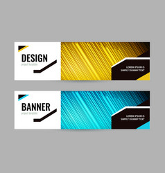 bright banner with lines on dark background set vector image