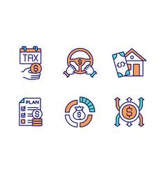 budget management rgb color icons set vector image