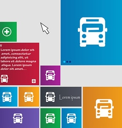 Bus icon sign buttons Modern interface website vector