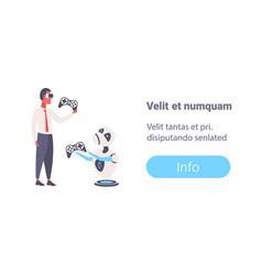 businessman vs sad robot playing video game vector image