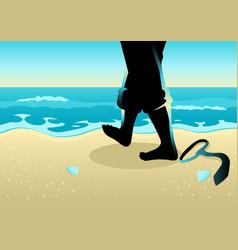 Businessman walking on beach vector