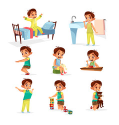 Cartoon boy daily routine activity set vector