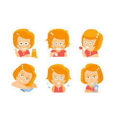 cartoon red-haired girl in everyday activities vector image