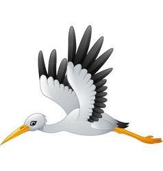 cartoon stork flying vector image