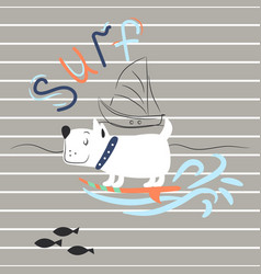 Cheerful dog surfing print for child apparel t vector