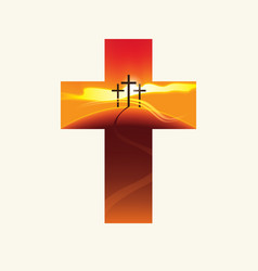 Christian cross with three crosses on a hill vector