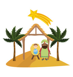 christmas nativity scene cartoon vector image