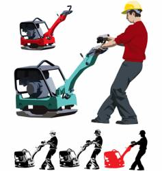 Construction worker with compactor vector