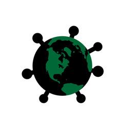 coronavirus 2019-ncov earth corona virus flat map vector image