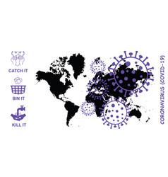Coronavirus covid-19 world map vector