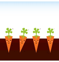 Cute beautiful cartoon Carrots in row vector image
