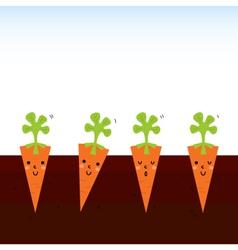 Cute beautiful cartoon Carrots in row vector