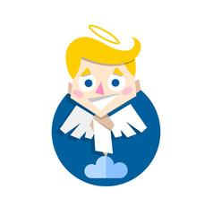 cute cupid standing on cloud vector image
