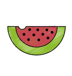 Delicious and healthy watermelon slice fruit vector