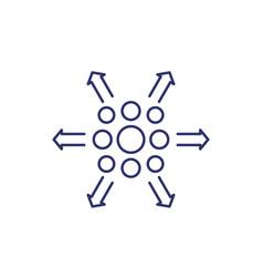 Distribution process icon line vector