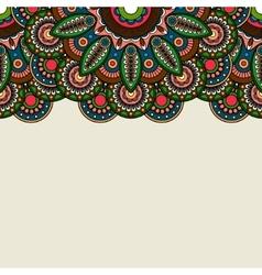 Doodle boho floral border vector image