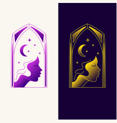 elegant emblem with a profile picture a young vector image
