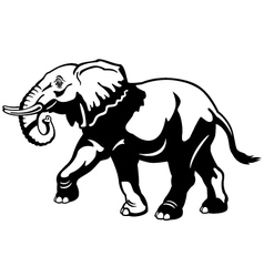 Elephant black white vector