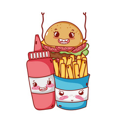 Fast food cute french fries burger and tomato vector