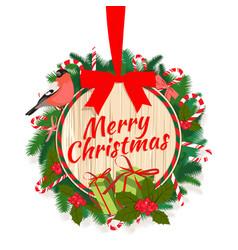 festive merry christmas tree wreath garland vector image