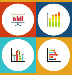 Flat icon graph set of statistic graph chart and vector