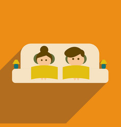 Flat web icon with long shadow man and woman couch vector
