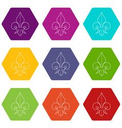 fleur de lis icons set 9 vector image